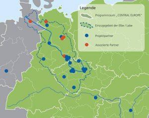 dekorative Karte mit Standorten von beteiligten Projektpartnern im Einzugsgebiet der Elbe