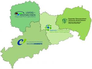 Karte mit den 4 Planungsverbänden Sachsens.